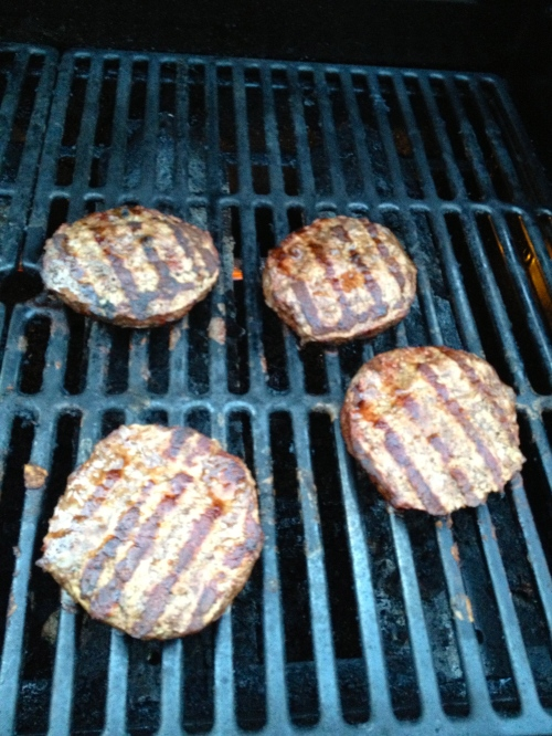 Burgers on the grill